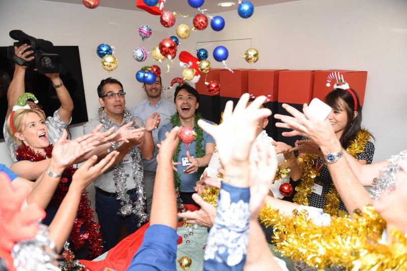 Participants have a lot of fun during the competitive teambuilding Twelve Teams of Christmas